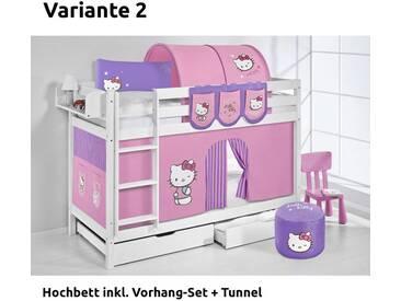 Etagenbett Jelle Hello Kitty Lila, mit Vorhang, weiß, Variante 2 - Lila