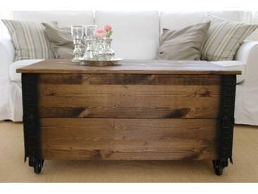 Couchtisch XL Truhe Vintage Shabby Landhaus Massivholz alt Antikbraun