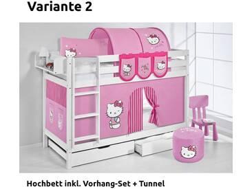 Etagenbett Jelle Hello Kitty Rosa, mit Vorhang, weiß, Variante 2 - Rosa