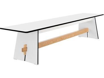Conmoto Tension - Bank 42 x 220 x 45 cm HPL weiss - Traverse aus Teak - ohne Auflage - Outdoorbank -