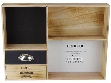 Regal Holz 54x11x40 3Fächer 2Schubladen Vintage Cargo Hängeregal Standregal