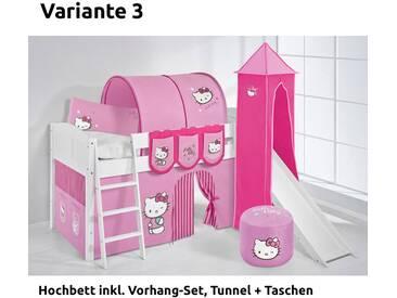 Hochbett Spielbett IDA Hello Kitty Rosa, mit Turm, Rutsche und Vorhang, weiß, Variante 3 - Rosa
