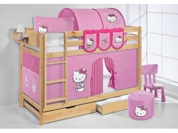 Etagenbett Jelle Hello Kitty Rosa - Hochbett Lilokids - Natur -