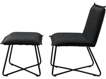 [en.casa]® Sessel mit Fußhocker im Set schwarz - Wildlederimitat - Eisengestell