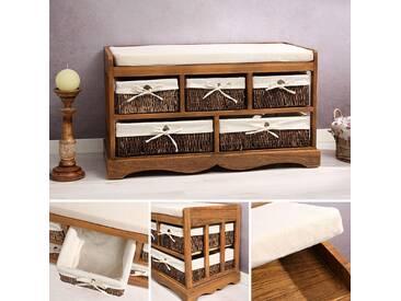 Sitzbank Vintage Kommode Flurbank Truhe Shabby Chic braun Sitzkommode Hocker - braun