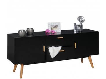 Wohnling Retro Sideboard Scanio MDF-Holz Schwarz 2 Schubladen & Türen skandinavisch   Design Flur-K