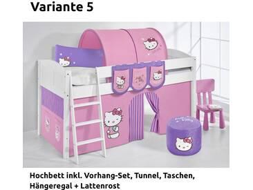 Hochbett Spielbett IDA Hello Kitty Lila, mit Vorhang, weiß, Variante 5 - Lila