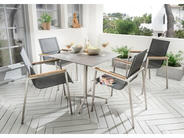 Destiny Essgruppe Altos mit Loft Tisch Edelstahl Textilene Schwarz Gartensessel Sitzgruppe Gartengru - Edelstahl