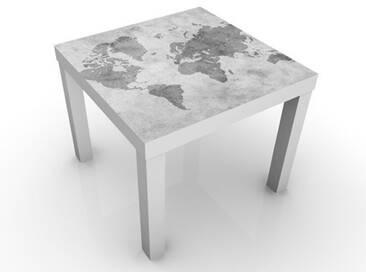 Beistelltisch - Vintage Weltkarte II - Tisch Grau