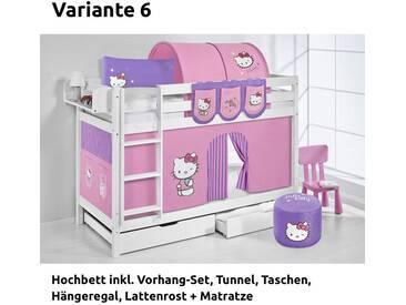 Etagenbett Jelle Hello Kitty Lila, mit Vorhang, weiß, Variante 6 - Lila