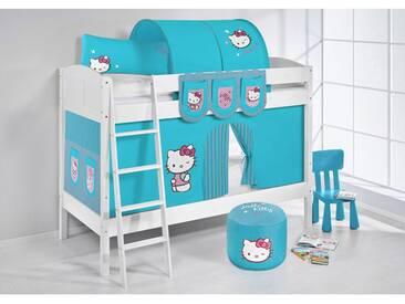 Etagenbett IDA Hello Kitty Türkis, mit Vorhang, weiß, Variante 3 - weiss