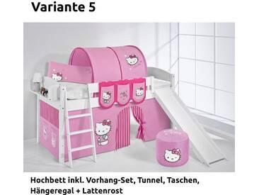 Hochbett Spielbett IDA Hello Kitty Rosa, mit Rutsche und Vorhang, weiß, Variante 5 - Rosa