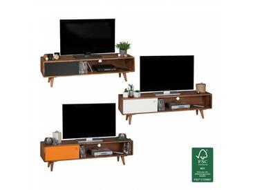 FineBuy TV Lowboard Sheesham Massivholz mit 1 Tür 140 x 40 x 35 cm   TV Hifi Regal im Retro-Design  