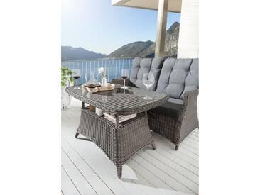Dining Loungetisch Casa Vintage Grau Tisch Polyrattan Esstisch 120 x 75 cm Gartentisch - Grau