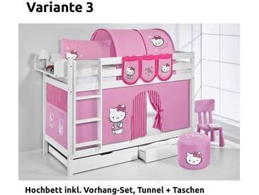 Etagenbett Jelle Hello Kitty Rosa, mit Vorhang, weiß, Variante 3 - Rosa