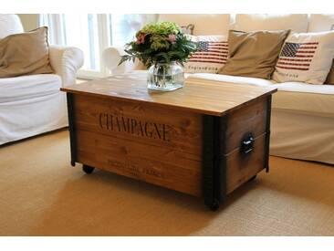 Couchtisch XL Champagne Truhe Vintage ShabbyChic Landhaus Massivholz alt Antikbraun (Kopie) - Champagne