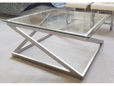 Fredriks Couchtisch Metall Glas Silber Sawl 87 cm breit 87 cm tief Top B-Ware - Silber