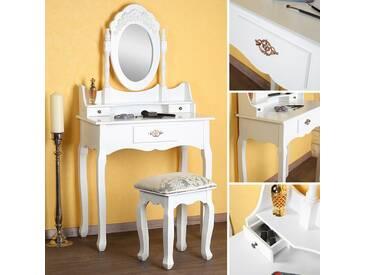 Schminktisch inkl. Hocker Spiegel Frisiertisch Kosmetiktisch Landhaus Antik Weiß