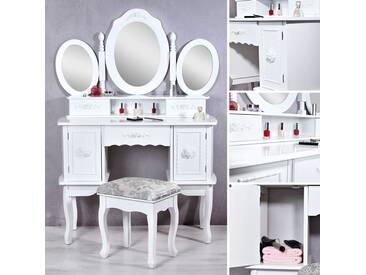 Landhaus Frisiertisch Spiegel + Hocker Schminktisch Schminkkommode weiß Kosmetik