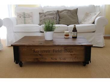 Couchtisch Roosevelt Field Holzkiste Truhe Vintage ShabbyChic Landhaus Massivholz alt Antikbraun