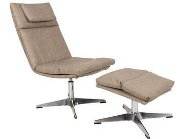 Lounge Sessel Chill mit Hocker - Vintage Beige - Grau