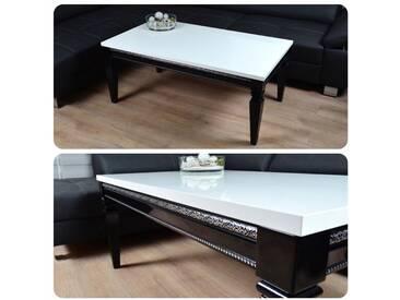 Barock Design Couchtisch 115x65x50cm Hochglanz weiss schwarz Lack Tisch Sofa - weiss