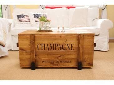 Holzkiste Truhe Couchtisch Vintage Shabby Landhaus Massivholz alt Antikbraun - Champagne