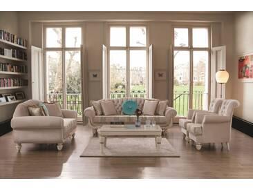 Barock Couch Set Annelore in Beige / Gold 3-teilig - Beige