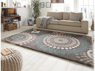 Design Velours Teppich Hochflor Globe Grau