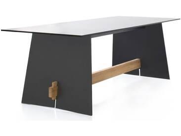 Conmoto Tension - Tisch 220 x 90 x 73 cm HPL anthrazit - Kanten schwarz - Traverse aus Teak - Outdo