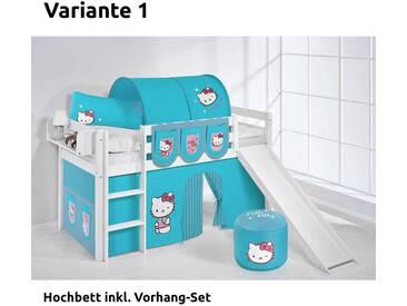 Hochbett Spielbett Jelle Hello Kitty Türkis mit Rutsche und Vorhang, weiß, Variante 1