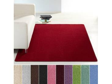 Design Kurzflor Teppich Uni einfarbig | Farben: rot grün rosa creme braun lila blau oder grau - rot