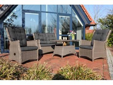 Destiny Loungegruppe Casa Lounge Sofa Sessel Tisch Polyrattan Dininglounge - Grau