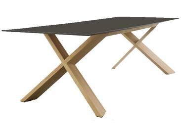 Conmoto X-Man Tisch, HPL anthrazit / schwarze Kante / Eiche, H 72 | B 240 | T 100 cm