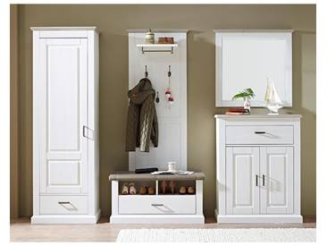 Garderoben Set Landhaus-Stil mit Dielenschrank in Pinie hell Taupe Laer-36 B/h/t 297x204x42cm