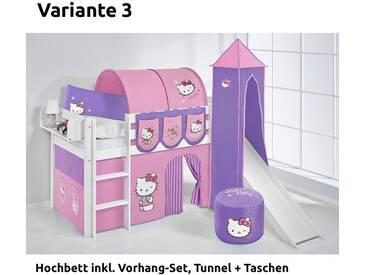 Hochbett Spielbett Jelle Hello Kitty Lila mit Turm, Rutsche und Vorhang, weiß, Variante 3 - Lila