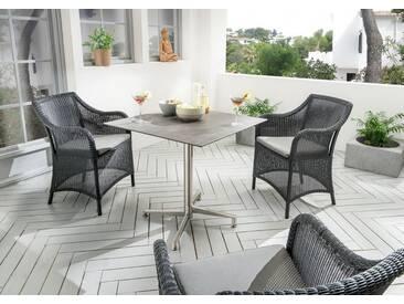 Destiny Gartenset Sevilla Sessel schwarz mit Loft Tisch Geflechtsessel Gartensessel Gartentisch HPL - schwarz