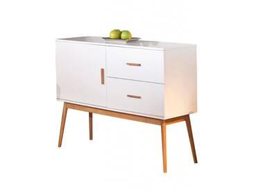 Sideboard Melanie Anrichte im Retro-Design Weiß hochglänzend