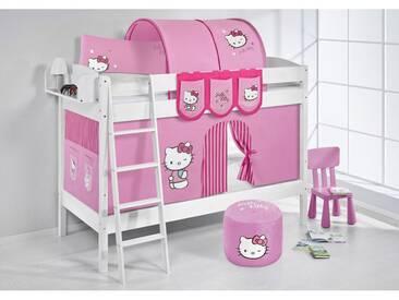 Etagenbett IDA Hello Kitty Rosa, mit Vorhang, weiß, Variante 3 - Rosa