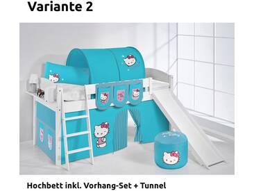 Hochbett Spielbett IDA Hello Kitty Türkis, mit Rutsche und Vorhang, weiß, Variante 2