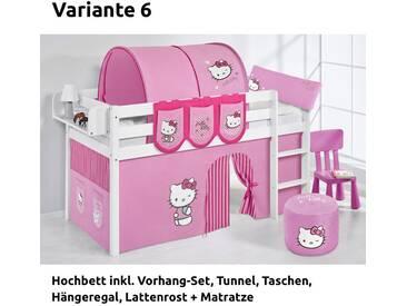 Hochbett Spielbett Jelle Hello Kitty Rosa mit Vorhang, weiß, Variante 6 - Rosa