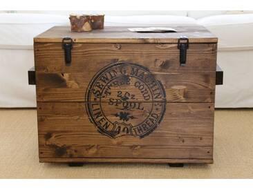 Truhe Sewing Holzkiste Couchtisch Vintage Shabby Landhaus Massivholz alt Antikbraun
