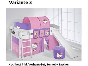 Hochbett Spielbett IDA Hello Kitty Lila, mit Rutsche und Vorhang, weiß, Variante 3 - Lila