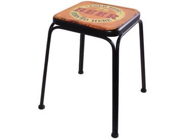 Retro Design Hocker Beer Aufdruck Wohn Zimmer Sitz Beistell Möbel Ablage Stuhl mehrfarbig Noor 77016
