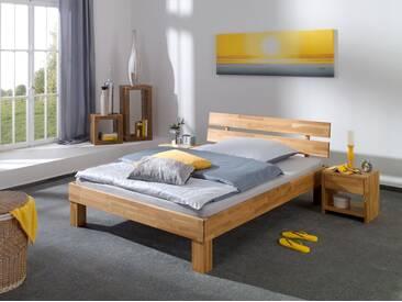 Französisches Bett Doppelbett 140x200 Massivholzbett Eiche Federholzrahmen Matratze 60.88-14 FS M - natur