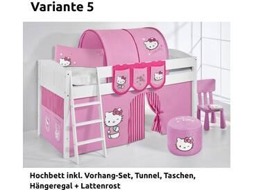 Hochbett Spielbett IDA Hello Kitty Rosa, mit Vorhang, weiß, Variante 5 - Rosa