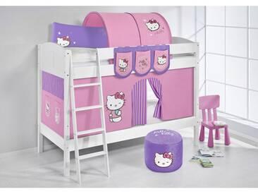 Etagenbett IDA Hello Kitty Lila, mit Vorhang, weiß, Variante 2 - Lila