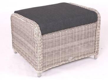 Destiny Lounge Hocker Casa Vintage Weiß Fußhocker Polyrattan Beinauflage Luna Palma