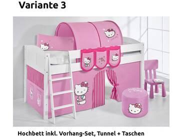 Hochbett Spielbett IDA Hello Kitty Rosa, mit Vorhang, weiß, Variante 3 - Rosa