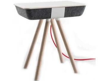 Conmoto Pad Box Wood - Beistelltisch - grauer Formfleece - Platte CCL weiss - Eiche Gestell weiss ge